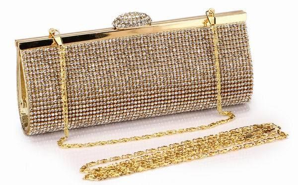 Bolsa De Festa Rosê : Bolsa de m?o strass festas luxo dourada ou prateada cc